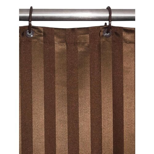 lushomes thick striped dark brown water repellent shower curtain
