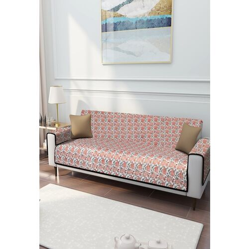 Rajasthan Decor Pink & Off-White Screen Print 3 Seater Quilted Sofa Cover