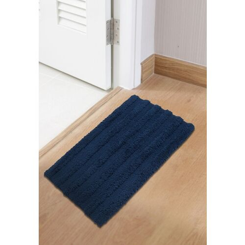 SPACES Navy Blue Solid 1850 Gsm Swift Dry Xavier Bath Mat