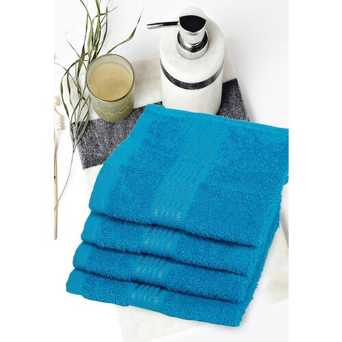 BIANCA Unisex Set Of 4 Turquoise Blue Solid 100% Combed Cotton Super-Soft Terry Face Towels