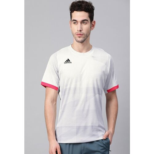 ADIDAS Men White & Grey Freelift OLYMP HEAT.RDY Printed Round Neck Tennis T-shirt