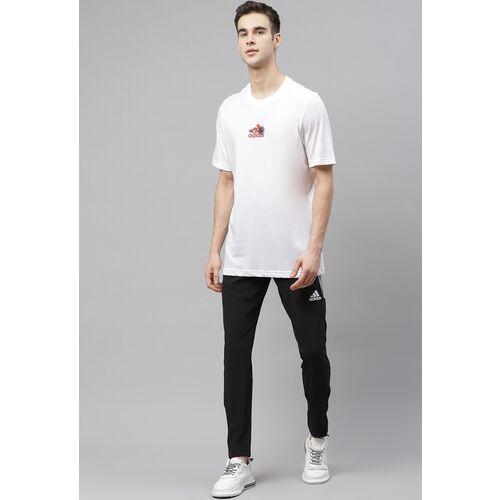 ADIDAS Men White & Black Tennis Graphic Q2 Round Neck T-shirt with Printed Back