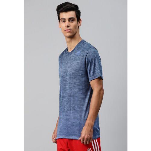 ADIDAS Men Navy Blue Self Design Tech Gradient Training T-shirt