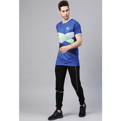 ADIDAS Men Blue Tennis Printed Henley Neck T-shirt