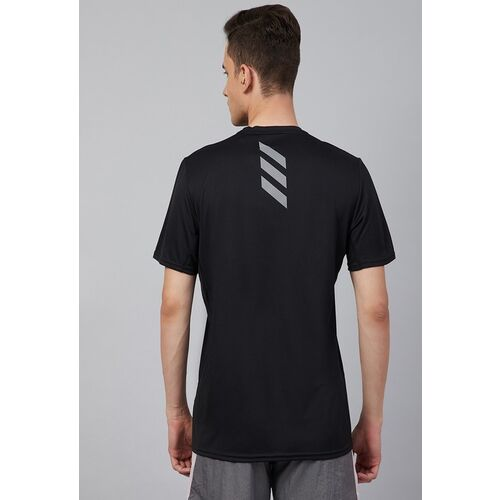 ADIDAS Men Black Solid Fast Prime Blue Round Neck Running T-shirt