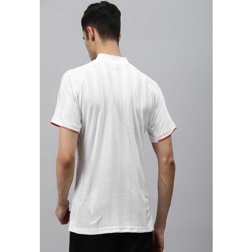 ADIDAS Men White Striped Freelift Engineered Tennis T-shirt