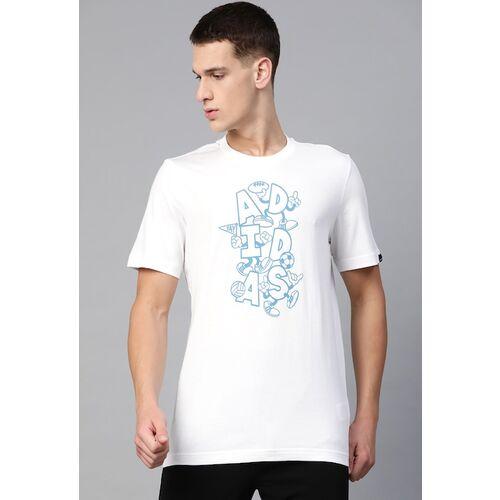ADIDAS Men White & Blue Pure Cotton Printed Round Neck T-shirt