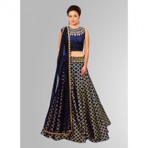 Khantil Blue Jacquard Embroidered Navratri Special  Designer Lehenga Choli