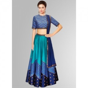 Khantil Blue Raw Silk Navratri Special Designer Lehenga Choli