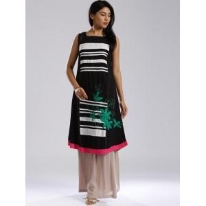 W Black A-Line Sleeveless Polyester Square Neck Kurta