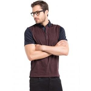 TRUE BLUE  Navy And Maroon Melange Regular-Fit Colour-Block Polo Shirt
