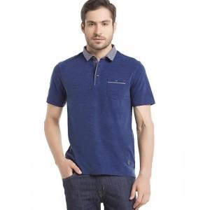 TRUE BLUE  Indigo Regular-Fit Printed-Collar Polo Shirt