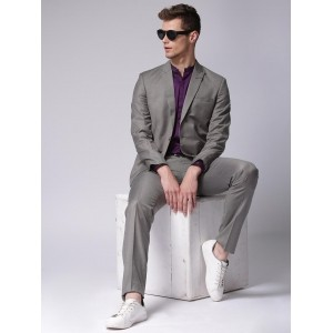 True Blue Grey Linen Single-Breasted Suit