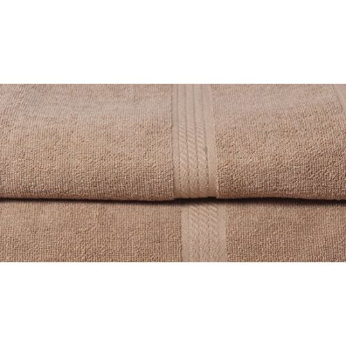 In Beauty Cotton Bath Towels for Men Brown Color Soft to Touch 2pc Set, 450 GSM Size 27x54 inch by Akshaan Texo Fab