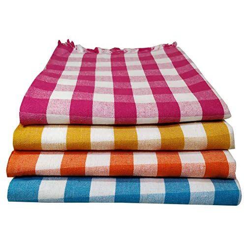 Vinayaka Cotton Towels 250 GSM (Set Of 4, Pink, Sky-Blue, Yellow and Orange)