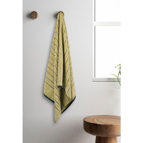 SPACES Unisex Yellow & Green Striped 575GSM Exotica Ribbed Bath Towel
