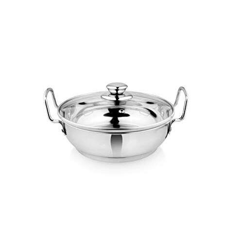 Vinayak International Stainless Steel Kadai with Glass lid Capsule Bottom 20 cm Capacity - 1500 Ml.