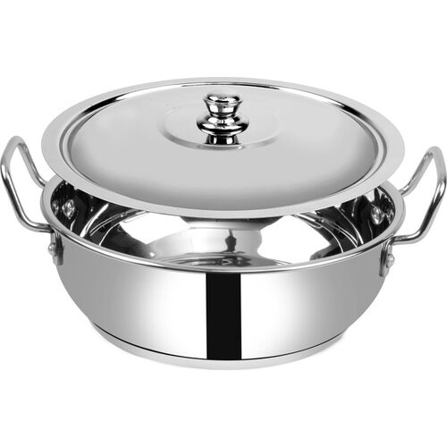 Ethical Fineart Stainless Steel Encapsulated Bottom Kadhai with SS Lid Diameter 2.3 L / 22 CM (Stainless Steel, Induction Bottom) Kadhai 22 cm diameter with Lid