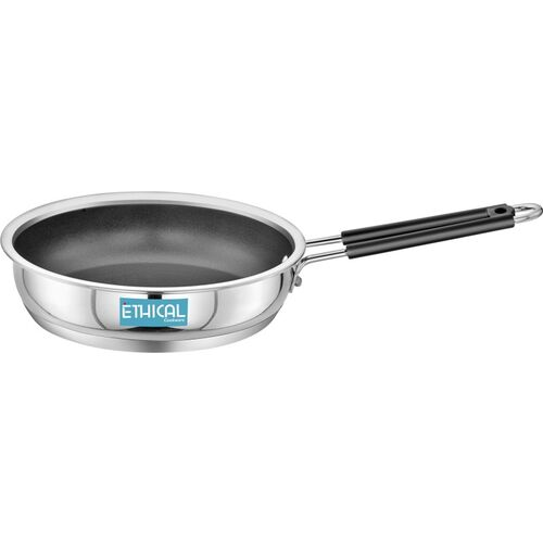 Ethical Stainless Steel Encapsulated Non Stick Fry Pan 1.40 L / 22 CM diameter Kadhai 22 cm diameter 1.4 L capacity(Stainless Steel, Induction Bottom)