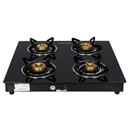 Faber Gas Stove 4 Burner Glass Cooktop Power 4BB BK Manual Ignition, (Black)