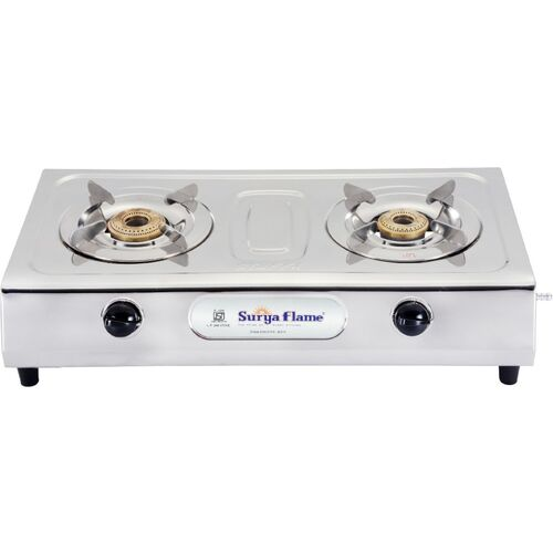 Suryaflame 2B Ultimate SS NA (ISI MARKED CE MARKED) and Doorstep Service Gas Stove Stainless Steel Manual Gas Stove(2 Burners)