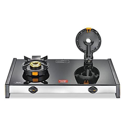 Prestige Svachh GSTV-02 Glass top LP Gas Table, 2 Burner, With Liftable Burner Set