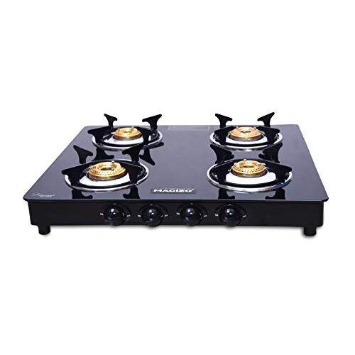MACIZO Preto 4 Brass Burner Glass Gas Stove Cooktop, Black, Manual