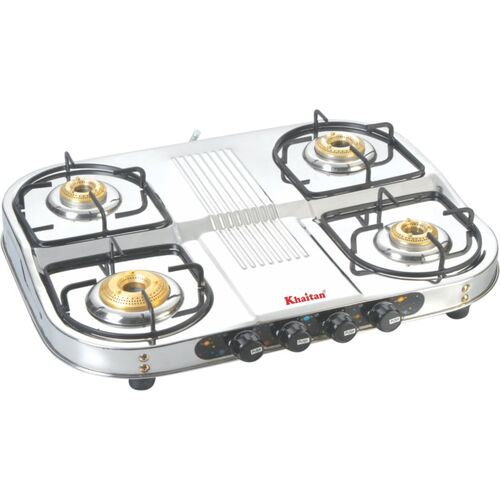 Khaitan 4 Burner Draw Double Decker (with party cooking burner) Stainless Steel Manual Gas Stove(4 Burners)