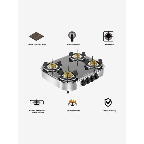 Euro Faber Curvo Mirror 4 Burners Gas Stove (Black)