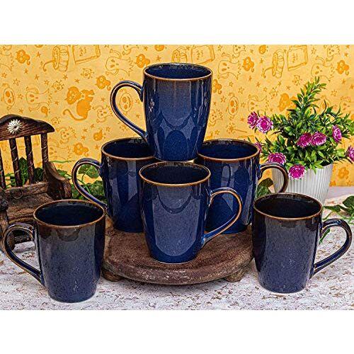 RHC Modern Design Ceramic Blue Color Milk & Coffee Mugs, 325 Ml