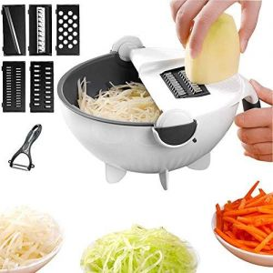 OUD Multi 9 in 1 Multifunction Vegetable Cutter with Drain Basket Magic Rotate Vegetable Cutter Slicer Chopper Grater Kitchen Tool Vegetable (1 Vegetable Cutter