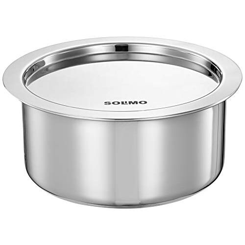 Amazon Brand - Solimo Tri-ply Stainless Steel Induction Base Tope with Steel lid (1.6L)