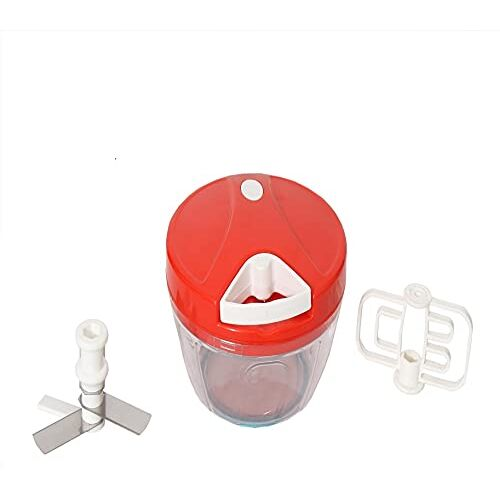 SOLEIL Handy Mini Plastic Chopper for Vegetables, Fruits, Nuts, Egg Beater, Meat Grinder Hand Mixer Food Processor with Whisker Blade Kitchen Tools