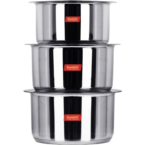 Sumeet Big & Large Size Stainless Steel Induction Bottom (Encapsulated Bottom) Induction & Gas Stove Friendly Container/Tope/Cookware with Lid Set of 3 Pc. Size