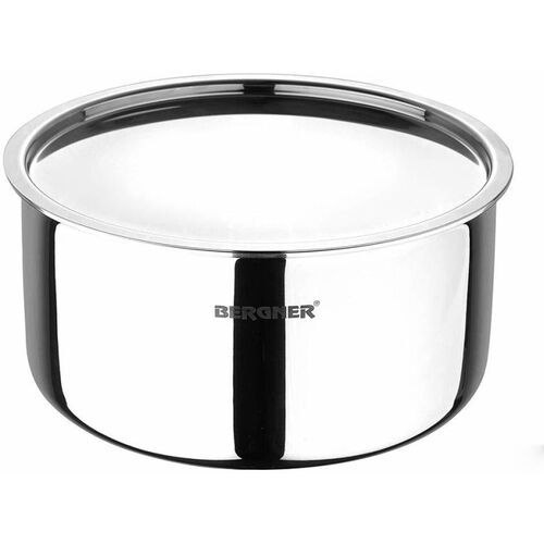 BERGNER Argent 24 cm, 5.3 Liters Silver Tope with Lid 5.3 L capacity 24 cm diameter(Stainless Steel, Induction Bottom)