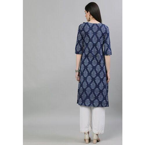 Nayo Women Navy Blue & White Printed Straight Kurta