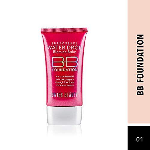 Swiss Beauty Shiny Pearl Water Drop Blemish Balm BB Foundation, Face MakeUp, 40ml