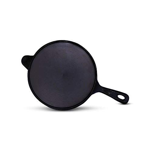 The Indus Valley Pre Seasoned Super Smooth Cast Iron Tawa with Long Handle for Dosa Roti Chapathi, 10 inch