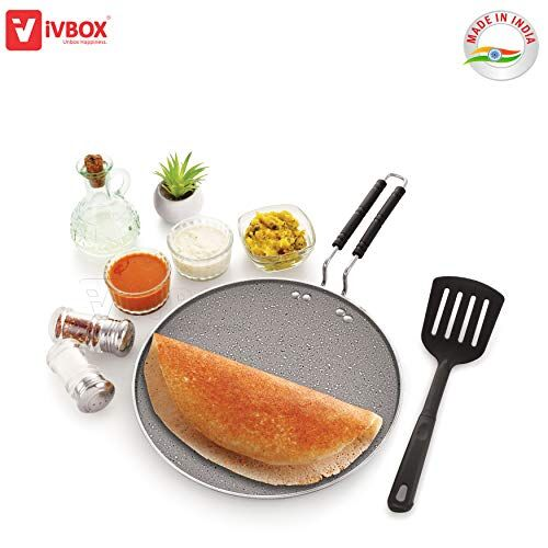 iVBOX Rio-Marble Induction Base 300mm Non-Stick Multi-Purpose Aluminium Tawa, Grey (30cm, Induction and Gas Stove Compatible)