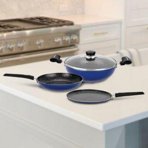 BERGNER Renberg Blue Orchid Cookware Set(Aluminium, 4 - Piece)