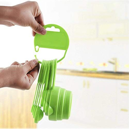 ZooY Smart Measuring Spoon and Cup Set, 8-Pieces (Plastic, Green, Pack of 1)