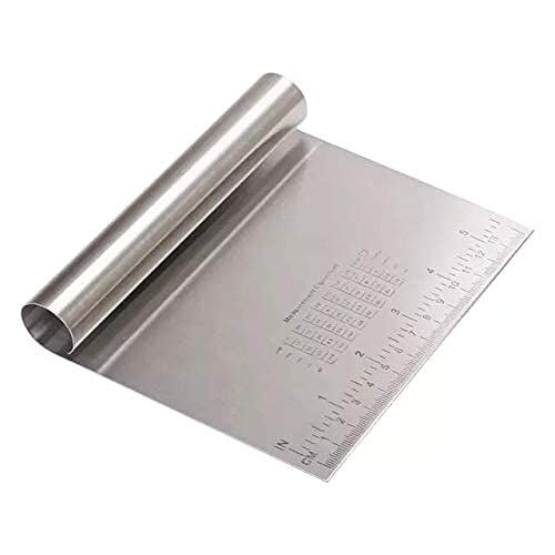 Grizzly Bench Scraper Chopper Steel Kitchen Food Scraper Icing Smoother Blade with Scale Cutting Knife.