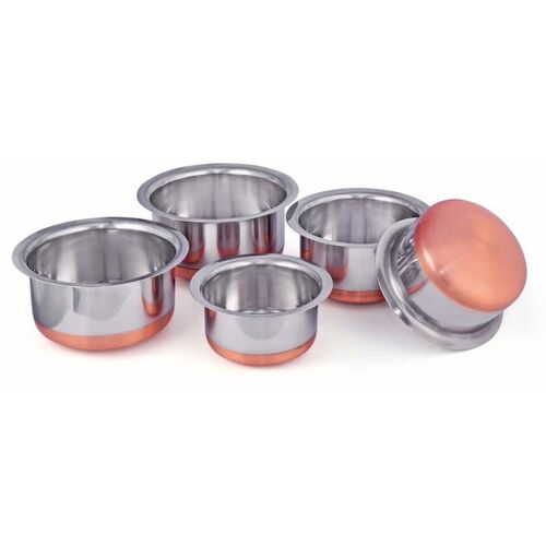 Nirvika Stainless Steel Copper Bottom Cookware set/Container/Tope Set of 5 Pieces patila/bhaona/tapeli/serving bowl/biryani new pot pan(3 Litter Tope, 2.3