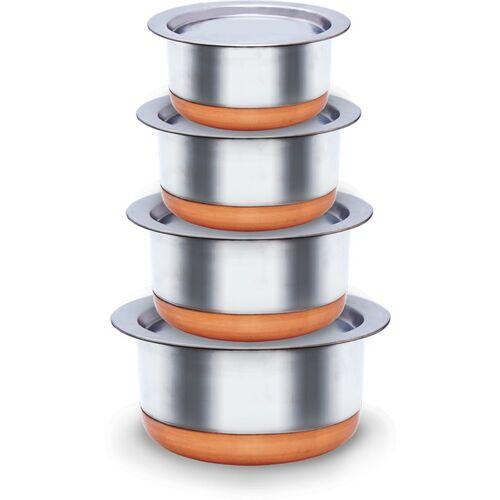 Flipkart SmartBuy Set of 4 Stainless Steel 22 Gauge Copper Base Tope Set / Steel Cookware set with lid (Stainless Steel, 4 -Pieces) (1 Ltr, 1.5 Ltr, 2 Ltr, 2.5