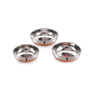 HAZEL Alfa Premium Heavy Gauge Stainless Steel Topes (1000 ml, 1500 ml, 1800 ml) - Set of 3