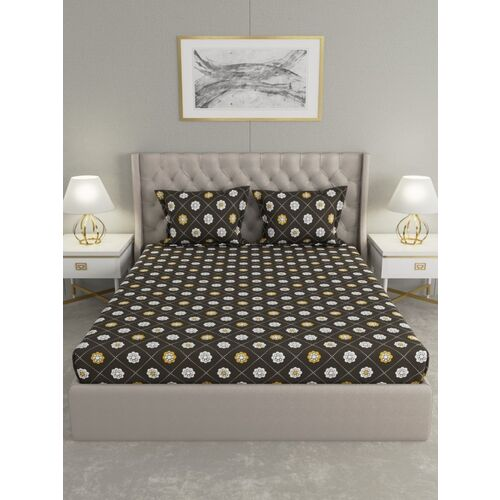 Raymond Home 104 TC Cotton Double Floral Bedsheet(Pack of 1, Grey)