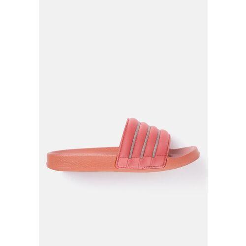 Kook N Keech Women Pink & Silver-Toned Striped Shimmer Quilted Open Toe Flats