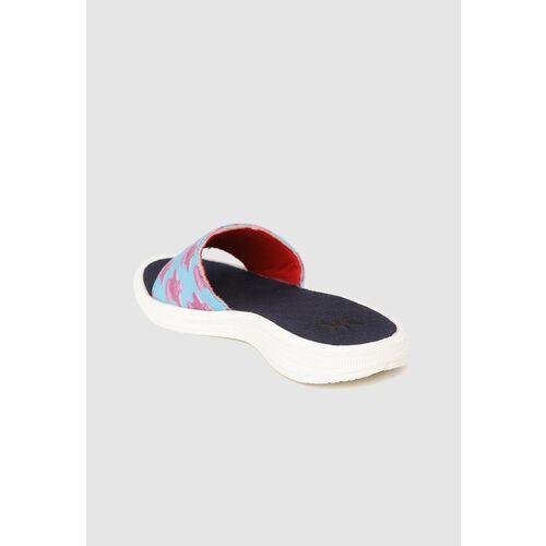 Kook N Keech Women Blue & Pink Conversational Print Open Toe Flats