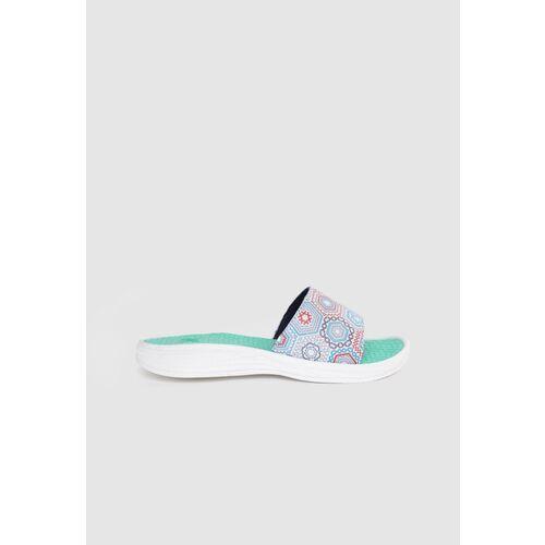 Kook N Keech Women White & Grey Printed Open Toe Flats