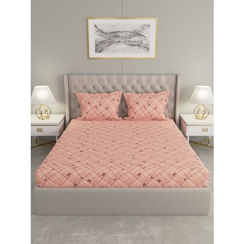 Raymond Home 104 TC Cotton Double Geometric Bedsheet(Pack of 1, Pink)